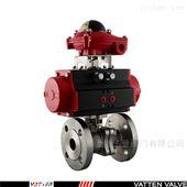 VT2BDF33A环保水处理气动不锈钢法兰切断球阀