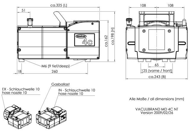 MD 4C NT - 尺寸规格表